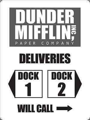 photo about Dunder Mifflin Name Tag Printable identified as DUNDER MIFFLIN PAPER Co. Inc. Shipping and delivery Dock Indication Prop - Aluminum 18\