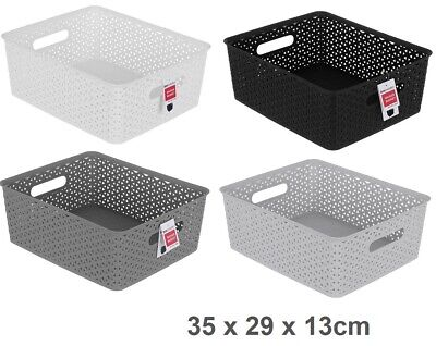 2 Rectangle Multi Purpose Plastic Storage Basket Wicker Pattern Organisation VIC