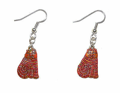 Vivid hand Painted Striped Cheshire Cat from Alice in Wonderland Earrings