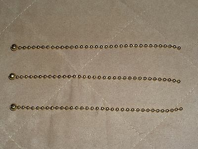 New 3 Brass Beaded Chains For Antique Vintage Art Deco Light Fixture Glass Shade
