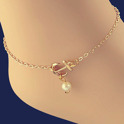 Fashion Charm Anklet Anchor White Pearl Bead Bracelet Ankle Foot Sandal Chain