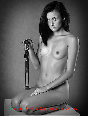 "Nude Woman Holding African Statue 8.5x11"" Photo Print Naked Female Photography"