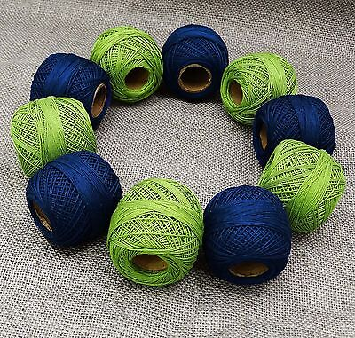 Set Of 10 Pcs Embroidery Crochet Cotton Yarn Thread Knitting Skein Tatting Ball