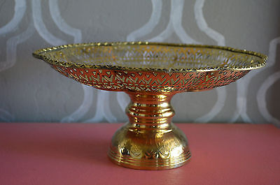 Collectible Thai Siam Brass Ruffle Rim Footed Tray Antique Style Amulet Bowl