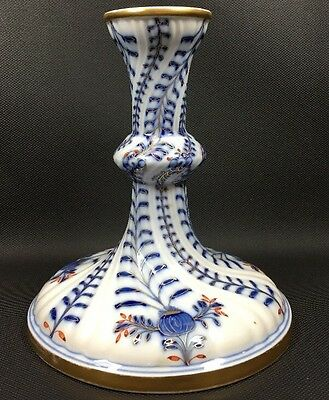 Meissen Candlestick Blue Red White Swirl Design Early 1900's.