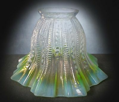 LOVELY LATE 19th. to EARLY 20th. CENTURY VASELINE OPALESCENT GLASS LIGHT SHADE
