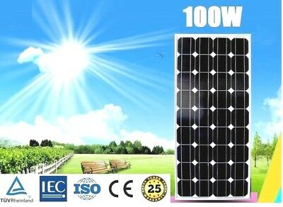 12V 100W Mono Solar Panel Home Generator Caravan Camping Power Battery Charging
