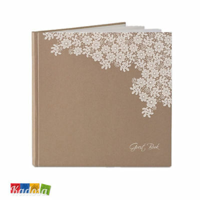 Guest Book Matrimonio Country Avana con Decorazione - Wedding Libro Firme Chabby