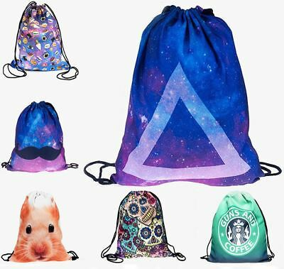 Kukubird Various Emoji/Galaxy Colourful Animal Pattern Simple String Backpacks