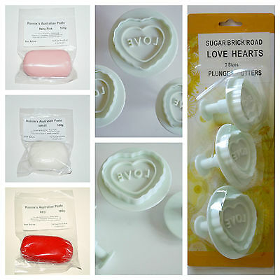 Love Heart Plunger Cutter Set with Modelling Paste, Sugarcraft, Cake Decorating