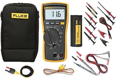 FLUKE 116 HVAC True RMS Multimeter | TLK-225 Master Accessory Set Probes | Clips