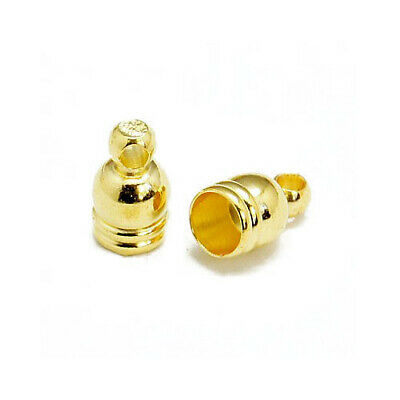 Pack Of 30 x Golden Plated Brass 5 x 8mm Kumihimo Bell-Shape End Caps HA03323