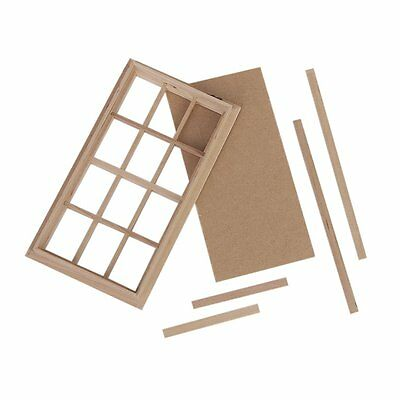 H1 Wooden Traditional 12-pane Window Frame 1:12 Scale Dollhouse Miniature