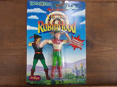 Vintage 1991 Bend-Ems Young Robinhood Hanna-Barbera JusToys ~ Robin~ NEW on Card