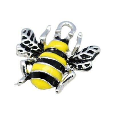 Bee Charm/Pendant Enamel & Alloy Yellow/Black 18mm  10 Charms Accessory Crafts