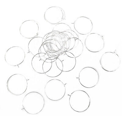 Packet 30 x Silver Tone Brass Round Wine Glass Charm Ring 0.8mm x 25mm HA13200
