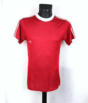 Vintage Adidas Originals Authentic Shiny Red Ringer Trefoil T-Shirt Tee Xs