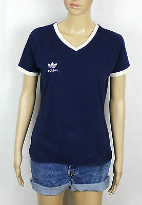 Adidas Originals Ladies True Vintage Blue 80S Trefoil T-Shirt Tee S (St47)