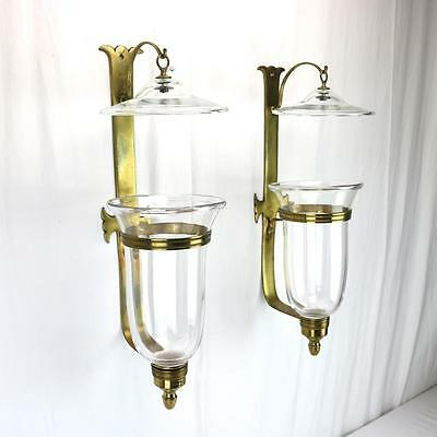VTG 18th Century Style Glass/ Brass Sconces w/ Hurricane Shade Williamsburg Rep.