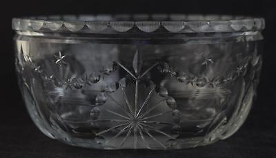 HAWKES Antique American Brilliant Period ABP Cut Glass Swag and Banner Bowl