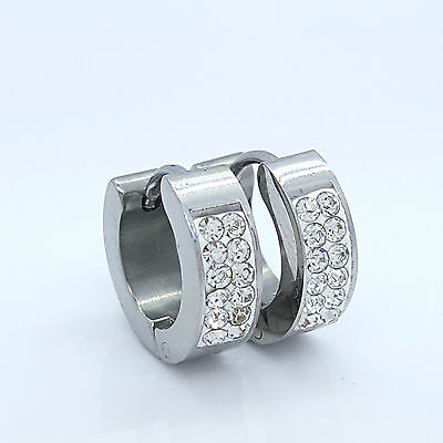 Earrings Stainless Steel 316 L Huggie Hoop Silver Crystal  Mens Womens 1 Pair