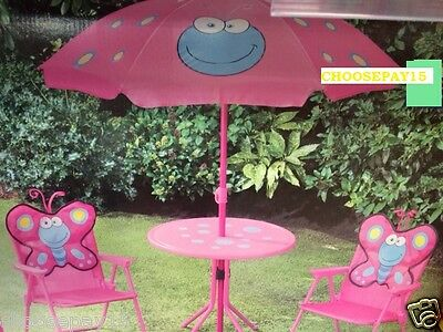 New Children Piece Pink Butterfly Table and Chairs Outdoor GardenPatio  Set
