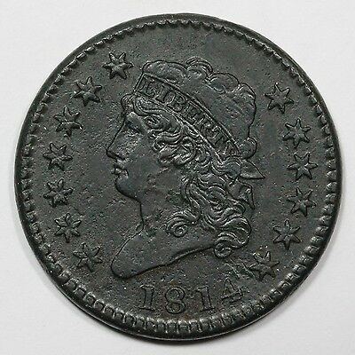 1814 S-294 Crosslet 4 Classic Head Large Cent Coin 1c
