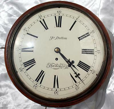 "F Dutton Hastings Antique Early English 8 Day Fusee 12"" Convex Dial Clock"