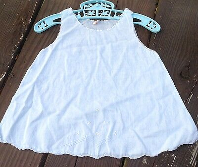 Vintage Embroidered Baby Dress Slip Nightgown Light Blue Handmade P