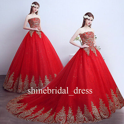 f3b4164d8b6 Strapless Red Quinceanera Dresses Gold Applique Prom Formal Wedding Ball  Gowns