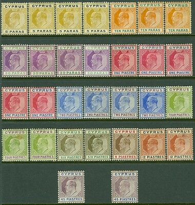 CYPRUS : 1904-10. Stanley Gibbons #60-71 Grouping of diff. values, Mint Cat £740