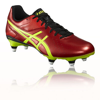 Asics Lethal Speed ST Mens Red Yellow Rugby Studs Boots Sports Shoes Trainers