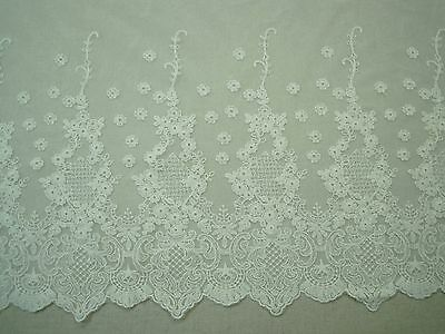 Embroidered Cotton Mesh Net Lace Fabric Floral 32cm Ivory 1Yd  FreeShipping