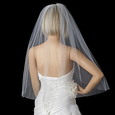 White Ivory Single Layer Wedding Elbow Length Cut Edge Bridal Veil with Comb