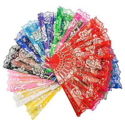 Vintage Lace Hand Fan Folding Spainish Style Rose Portable Dancing Cool US Stock
