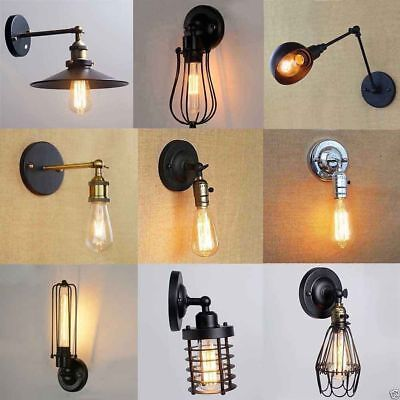 Vintage Antique Industrial Sconce Loft Bar Rustic Metal Iron Wall Light Lamp LED