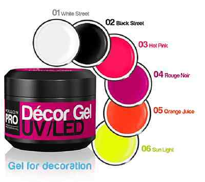 6 GELS DECOR UV LED PRO 5gr ONGLES MANUCURE INSTITUT DE BEAUTE ESTHETIQUE SPA