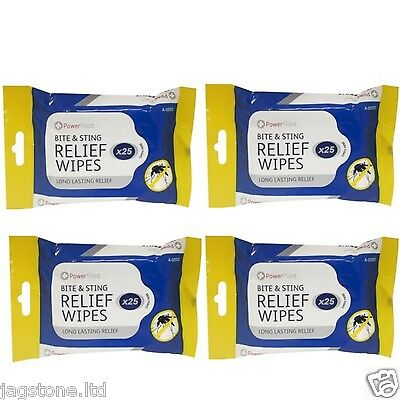 New 100 Anti Mosquito Insect  Bite & Sting Relief Travel Wipes Long Lasting