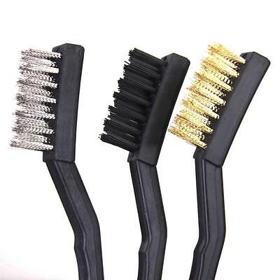 3PCS Nylon Brass Stainless Steel Brushes Car Vehicle Dirt Grime Rust Removal