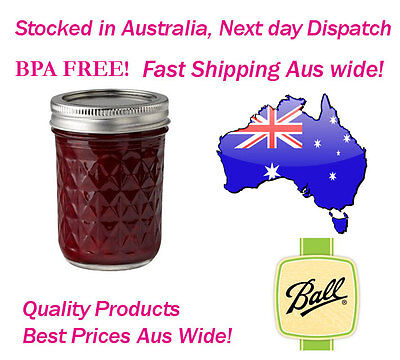 12 x Ball Mason Quilted 8oz 240ml Jam Jars and Lids BPA FREE Candles Weddings