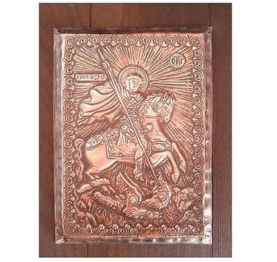 Copper handmade icon vintage wood christian religious plaque Saint George