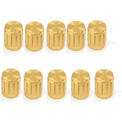 10pcs Golden Knobs Rotary Switch Potentiometer Volume Control Pointer Hole 6mm B