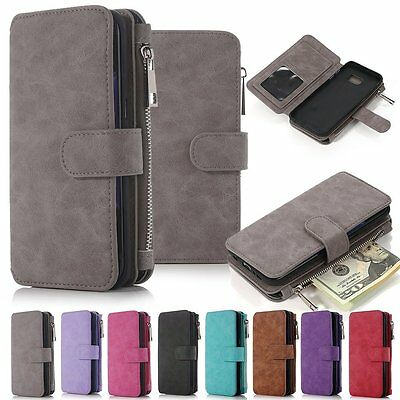 For Samsung Galaxy Note 5 Genuine Leather Wallet Zipper Flip Card Case Cover US