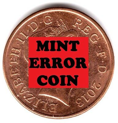 2013 1P SHIELD * ERROR COIN * ONE PENCE Blob / Lump on the harp a