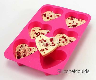6 cell PINK Heart Muffin Cupcake Fairy Cake Chocolate Soap Silicone Mould Baking