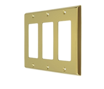 Switch Plate Triple Rocker Plate Only Solid Brass 9 Finishes FPL Door Locks