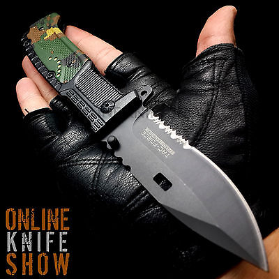 """8"""" MILITARY Black Camo Tactical ARMY Spring Assisted Open Folding Pocket Knife"""