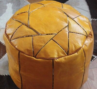 Handmade Brown Moroccan Pouf Genuine Leather Pouffe Ottoman Footstool Hassock.