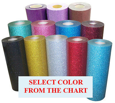 "5rolls pack 20""x3ft Heat Transfer Vinyl Glitter,29color option, for Cutter,Press"