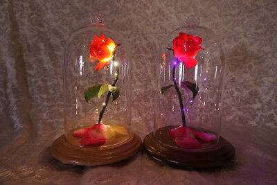 BEAUTY AND THE BEAST mini LIFE SIZE LIGHTED ENCHANTED ROSE BELLE GLASS DOME